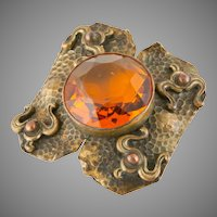 Arts and Crafts Movement Cognac Crystal Brooch
