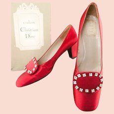 Christian Dior ca 1958 Red Satin Shoes  No 463487