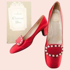 Christian Dior ca 1958 Red Satin Shoes  No 463487