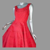 1950's Red  Parachute Taffeta Dress 36B 27W