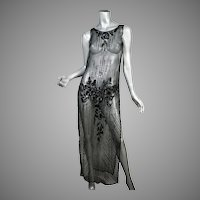 1920's Beaded & Sequin Net Tunic Dress
