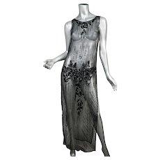 1920's Beaded & Sequin Net Tunic Dress