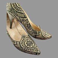 1950's  Brocade Shoes Black Crystals Fenton Last