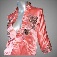 1950's Custom Made Silk Satin Chinese Jacket