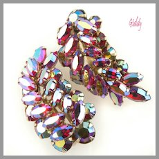 c 1960 Sherman Fuchsia AB Earrings