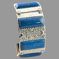 Wide Lapis Lazuli & Sterling Bracelet