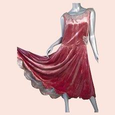 1920s Flapper Dress  Gold Lame Silk Velvet Paste Appliques