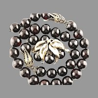 Antique Cherry Amber & Gold Washed Silver Sautoir Necklace