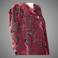 House of Worth Silk Velvet Devore Coat Haute Couture No.  2250