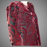 House of Worth Silk Velvet Devore Coat Haute Couture No.  2250