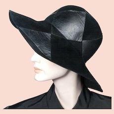 1970's Yves Saint Laurent Black Felt Leather Hat 22