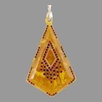 Art Deco Amber & Red Rhinestone Pendant Sterling Bale