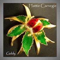 Hattie Carnegie Ladybug Trembler Brooch w/Box