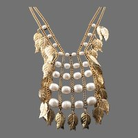 Miriam Haskell Cleopatra Style Glass Baroque Pearl Necklace