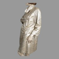 1960's Silver Lame Ribbon & Golds Wool Coat Saks Fifth Avenue