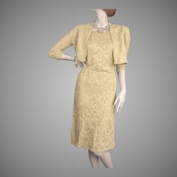 1950's Gold Ribbon Dress & Jacket Exquisite Construction