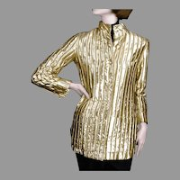 1960's Jeanne Lanvin Paris Gold Lame Jacket Made in France for I. Magnin