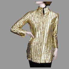 1960's Jeanne Lanvin Paris Gold Lame Jacket Made in France for I. Magnin