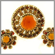 1960's Weiss Cognac & Amber Domed Brooch & Earrings