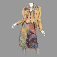 1970's Roberto Cavalli Printed Suede Leather 3pc Suit Alan Austin Beverly Hills