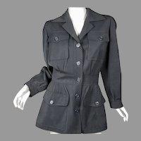 Yves Saint Laurent Paris Safari Jacket Black Wool Sz 38