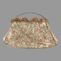 1920's Lame Purse Gold Silver & Rose Beautiful Gilt Carnelian Glass Frame
