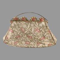 1920's Lame Purse Gold Silver & Rose Beautiful Gilt Carnelian Glass Frame