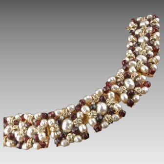 Miriam Haskell Ruby Glass Rhinestone Bracelet 1950's