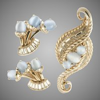 Schiaparelli 1950's Rhinestone & Blue Givre Glass Brooch & Earrings