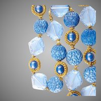 Art Deco Necklace Blue Cut Crystal Art Glass