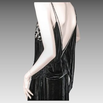 1930's Beaded Silk Chiffon Velvet Dress Julius Garfinckel & Co. Washington Paris