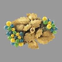 1920's Miriam Haskell Leaves & Glass Berries Brooch Unsigned