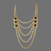 Miriam Haskell Etruscan Revival Statement Necklace Jet Glass Larry Vrba