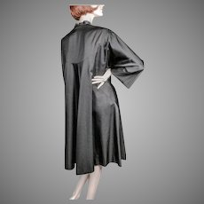 Irene Black Silk Faille Swing Coat Late 1940's