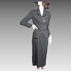Irene 1950's Black Wool Suit Incredible Zig Zag Structure