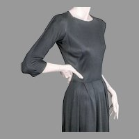 Mainbocher Classic Black Silk Jersey Dress ca 1960
