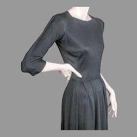 Mainbocher Classic Black Silk Jersey Dress ca 1960