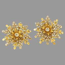 Miriam Haskell Large Rose Montee Earrings 1950's