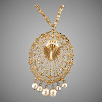 Miriam Haskell Faux Baroque Pearl & Gold Filigree Necklace ca 1970's