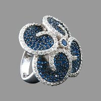 Large Sterling Ring Sapphire Blue Crystals Ice Rhinestones Rhodium Plate