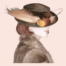 1930s Bird of Paradise Beaver Hat  22 3/4