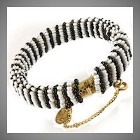 Miriam Haskell Bracelet *White Pearl and Black Jet Glass  *ca 1980