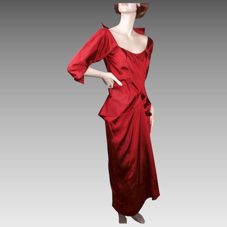 Ceil Chapman Regal Red Silk Faille Cocktail Dress 1950u0027s