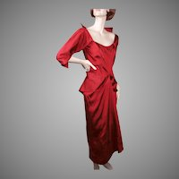 Ceil Chapman Regal Red Silk Faille Cocktail Dress 1950's