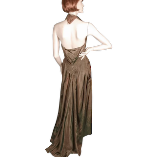 House of Worth Gown and Jacket Silk Moire  1940's