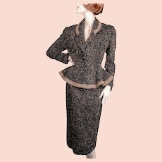 "1950's Lilli Ann Original Peplum Suit "" *Black Wool Flecked"