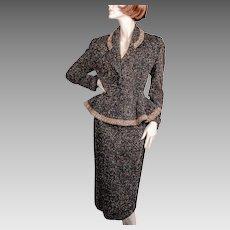 "1950's Lilli Ann Original Peplum Suit "" *Black Wool Flecked"