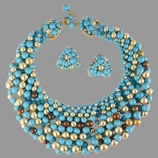 Rare Coppola E Toppo Necklace Earrings Demi Parure