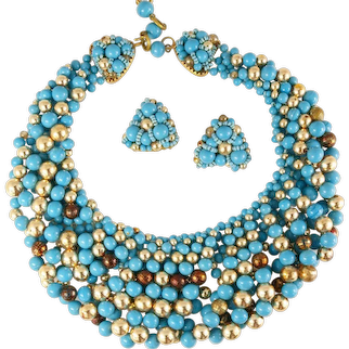 Rare Coppola E Toppo Necklace Earrings Demi Parure