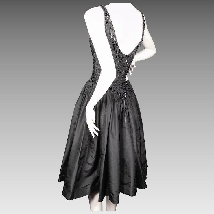 Ceil Chapman Couture Black Dress Beaded Silk Taffeta Late 1950u0027s